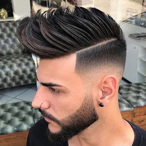 Faux Hawk Fade + Part + Groomed Beard
