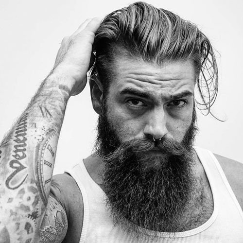 Hipster Long Slick Back + Tapered Sides + Long Full Beard