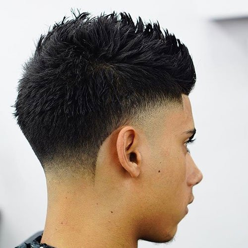 Low Burst Fade + Spiky Hair