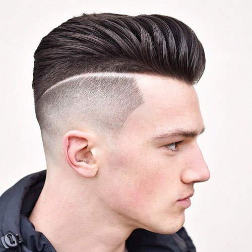 Modern Pompadour + High Fade + Line in Hair