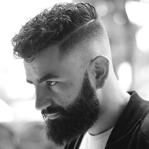 Medium Curly Haircut With Beard Jpg