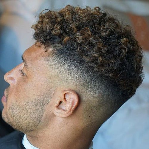 Bald Fade With Curls