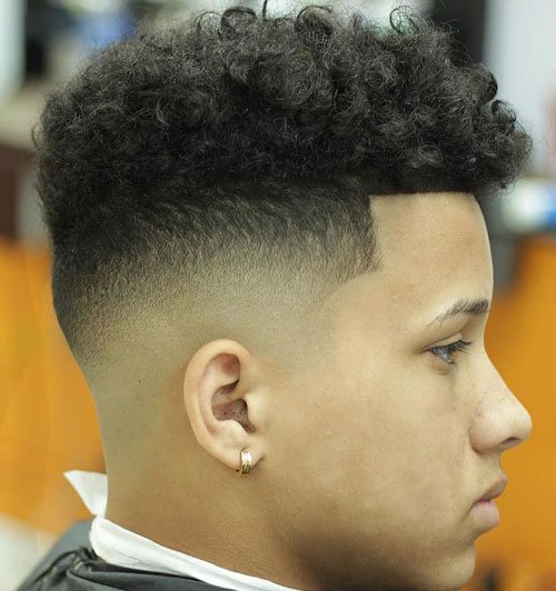 Bald Fade with Natural Curls on Top