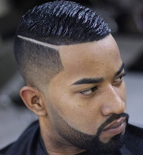 Black Men Haircuts   Taper And Hard Part With Wave Cut