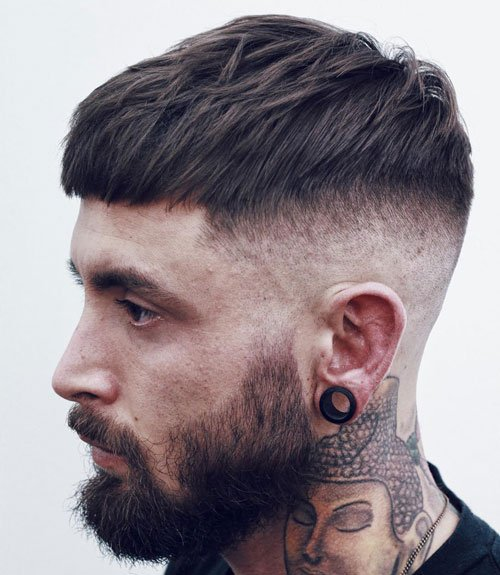 Cool Modern Haircuts For Men - Short French Crop with High Bald Fade and Beard
