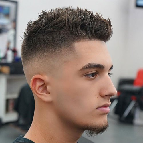 Cool Trendy Haircuts   Bald Fade With Shape Up And Spiky Hair