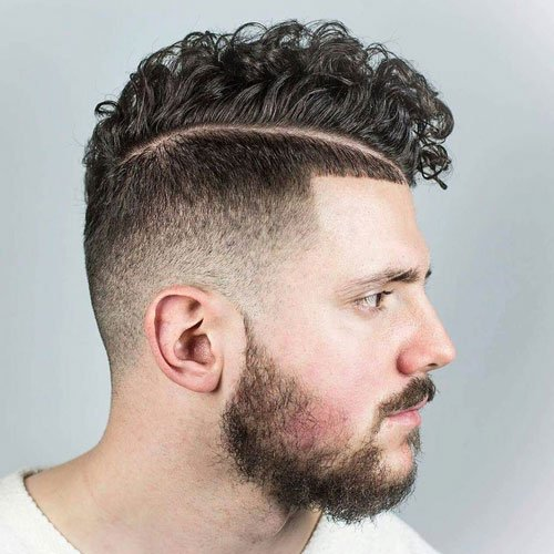Curly Side Part Fade