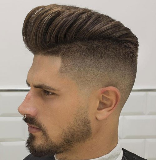 Fade Haircut High Pompadour