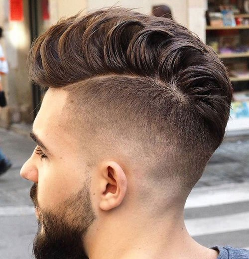 High Fade Loose Pompadour