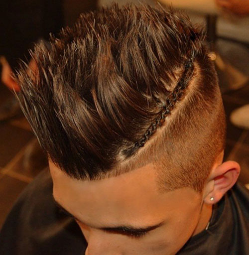High Fade with Braids, Long Spiked Hair