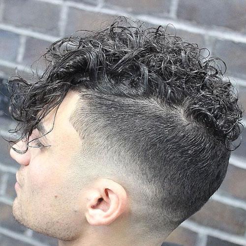 Long Curls + Drop Fade