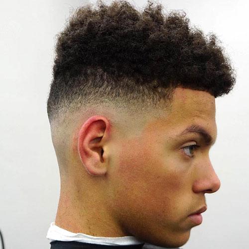 Longer Curls On Top + Low Bald Fade