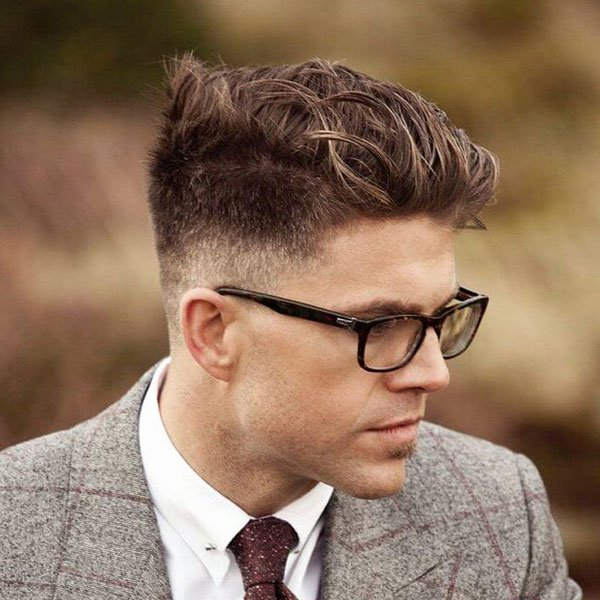 Low Fade with Brushed Up Hair