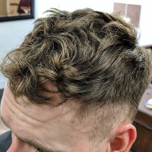 Messy Textured Wavy Hair on Top + Short Tapered Sides