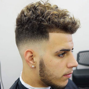 Short Curly Top + Mid Skin Fade + Shape Up