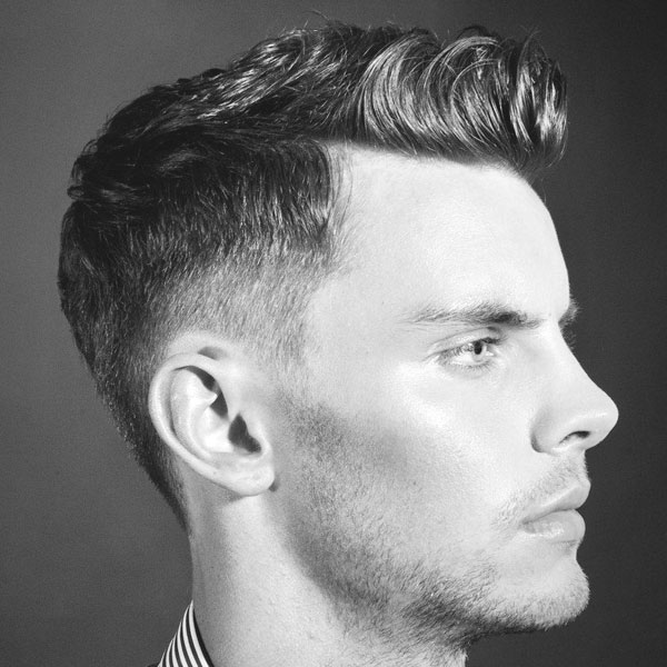 Short Pompadour with Low Fade