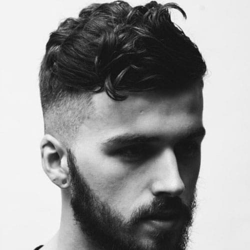 Short Wavy Hair + High Skin Fade + Full Beard