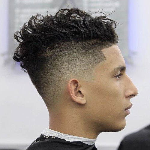 Side Party Wavy Hair + Undercut Fade + Line Up