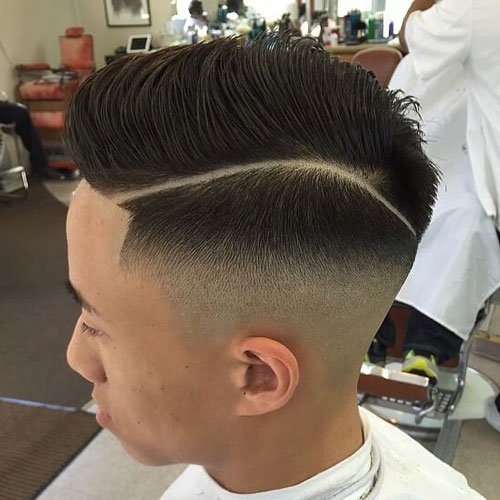Temple Fade with Comb Over