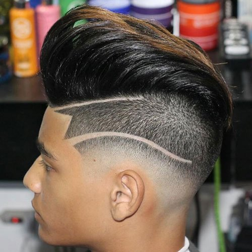Undercut Hair with Textured Pompadour and Hair Design
