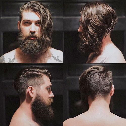 Undercut Hair - Angled Undercut with Beard