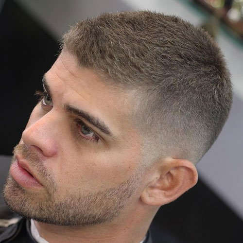 Bad Boy Haircuts - Crew Cut Fade with Beard