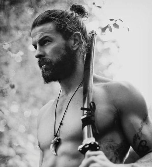Beard Styles - Man Bun and Beard