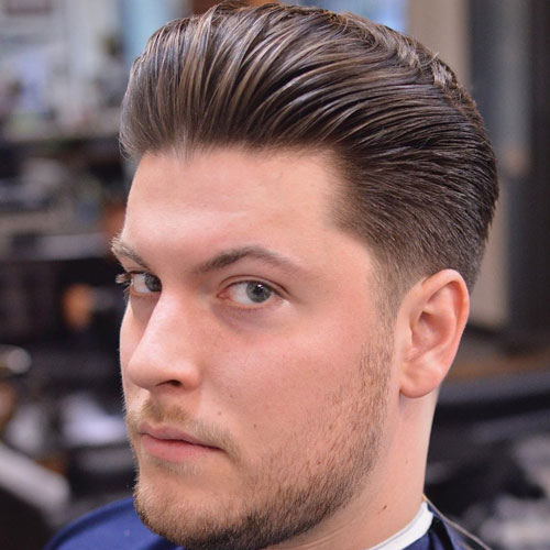 Medium length Haircuts Classic Tapered Sides + Thick Brushed Back Hair
