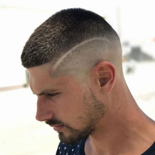 High Buzz Cut Fade + Line in Hair