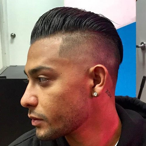 Medium length Haircuts +High Fade + Line Up + Pomp Comb Over