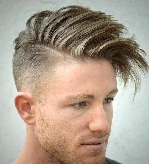 Hot Hairstyles For Guys - Hard Part Comb Over with Taper Fade