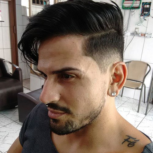 Long Comb Over + Part + Low Fade