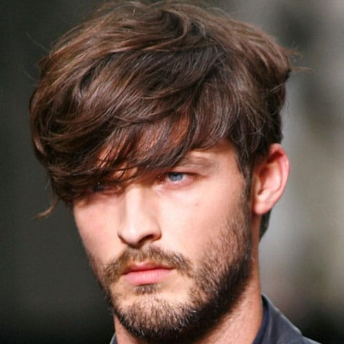 Medium length Haircuts + Long Fringe + Full Beard