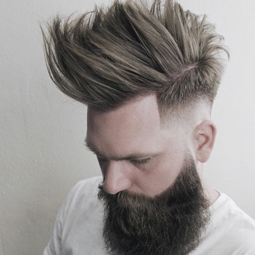 Medium length Haircuts Drop Fade + Long Faux Hawk + Full Beard