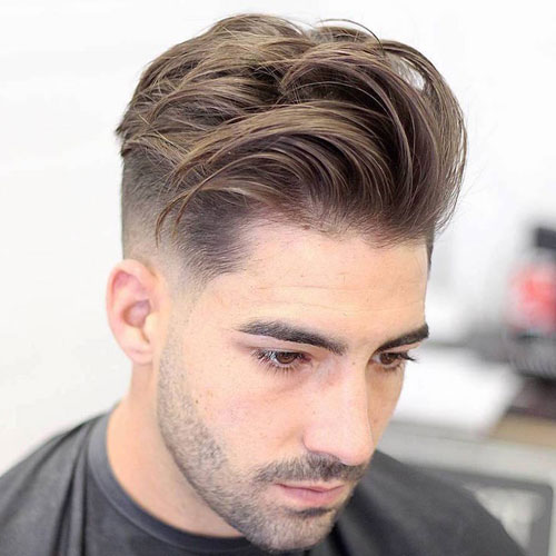 Medium length Haircuts Fade + Medium Length Textured Top