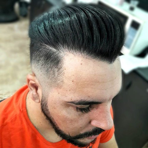 Medium length Haircuts Skin Fade + Pompadour