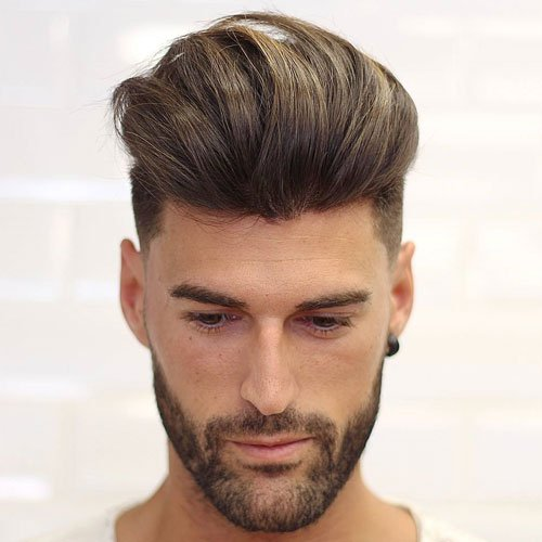 Medium length Haircuts Quiff + Line Up + Beard