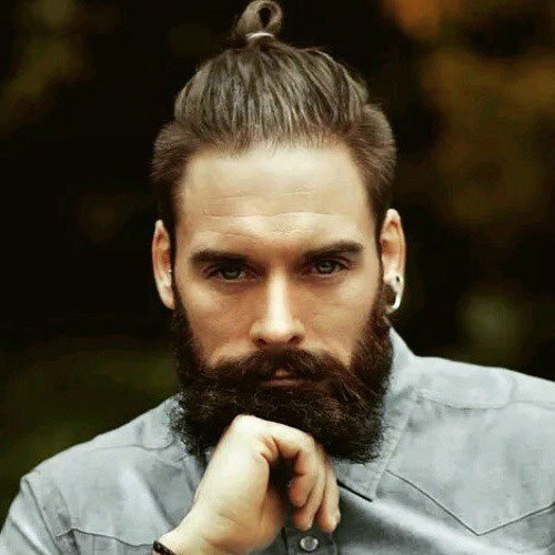 Ponytail + Thick Brown Beard