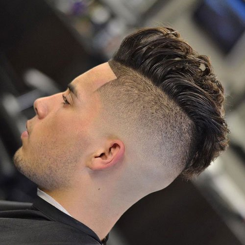 Medium length Haircuts Undercut + Wavy Fohawk