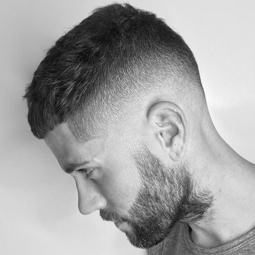 High Skin Fade + Crew Cut + Beard