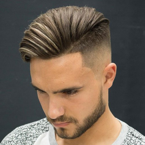 High Skin Fade + Shape Up + Angular Comb Over