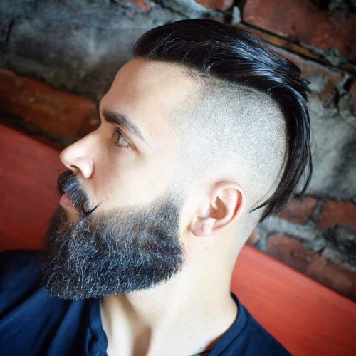 Hipster Slicked Back Undercut + Full Beard + Handlebar Mustache