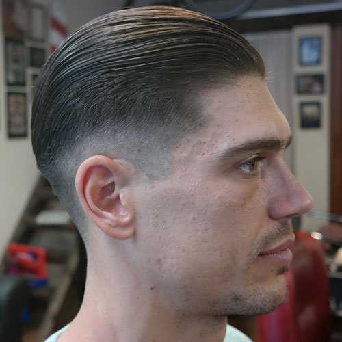 Long Slick Back Hair +Taper Fade