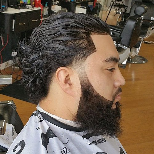 Long Wavy Slick Back Fade + Line Up + Full Beard