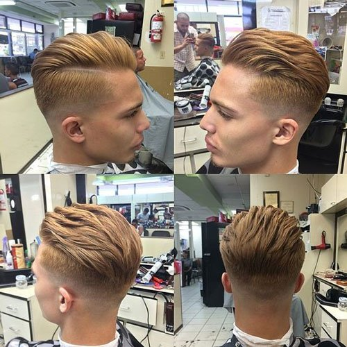 Slick Back Haircut With Comb Over
