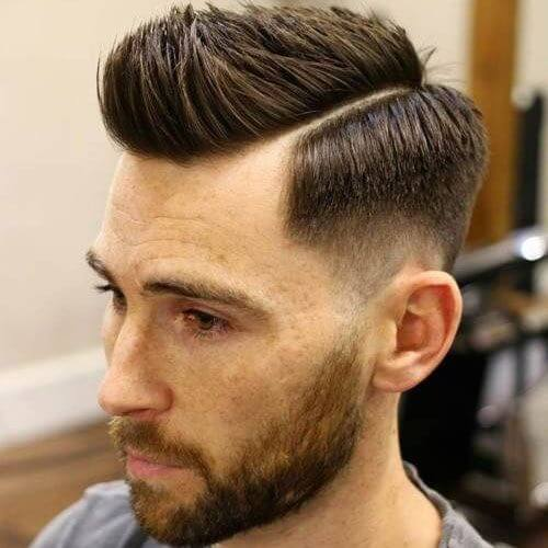 Spiky Side Part + Low Skin Fade + Beard