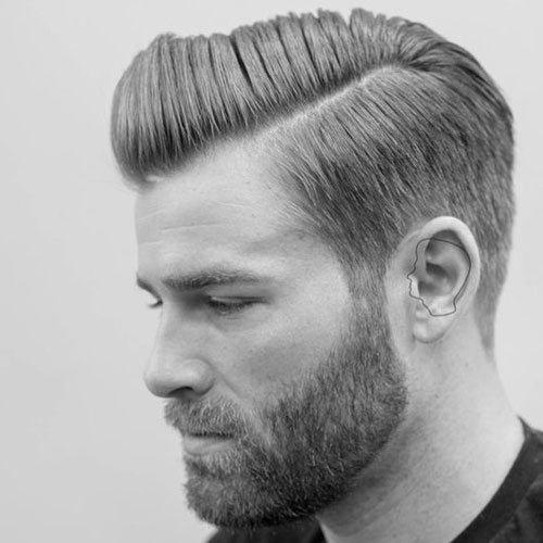 Classic Tapered Sides + Side Parted Top + Beard