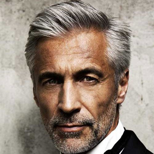 Hairstyles For Older Men - Classic Side Part + Stubble Beard