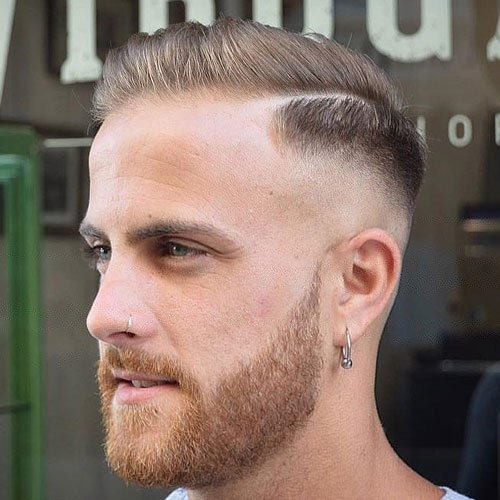 Hard Side Part + Razor fade + Full Beard