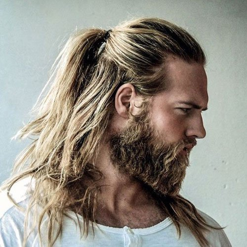 Long Blonde Hair and Beard